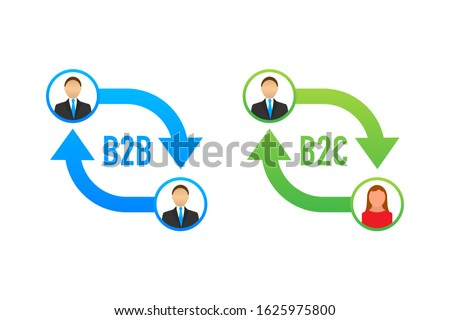 B2B and B2C icon, business to business concept and business to client. Vector stock illustration. Stockfoto ©