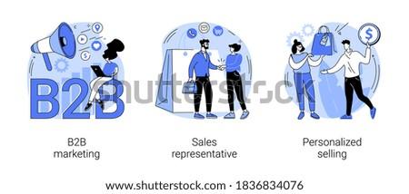 B2B marketing abstract concept vector illustration set. Sales representative, personalized selling, digital campaign, telemarketing, sales agent, brand representative, enterprise abstract metaphor.
