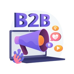 B2B marketing. Business collaboration, SMM, Internet notification. Online promotional campaign flat design element. Social media network ads. Vector isolated concept metaphor illustration