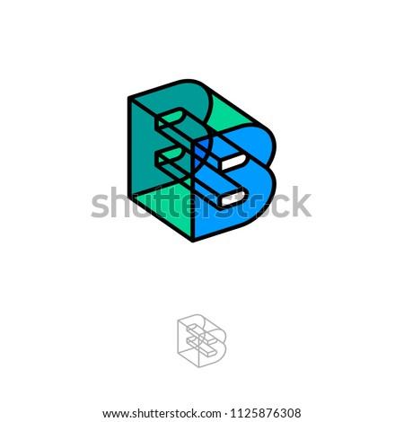 B-box letter. 3D B monogram. Abstract volume logo. Transparent glass figure as B letter.