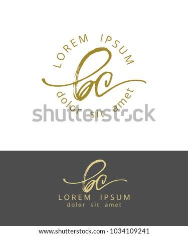 B C. Initials Monogram Logo Design. Dry Brush Calligraphy Artwork