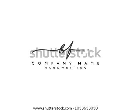 B F Initial handwriting logo Stock fotó ©