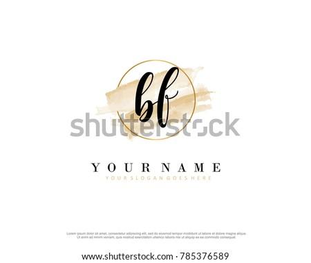 B F Initial water color logo template vector Stock fotó ©