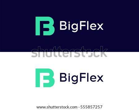 B & F Letter Logo icon elements. Creative Graphic Alphabet Symbol for Corporate Business Identity.  Typographic Concept Icon design template Stock fotó ©