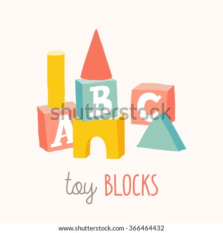 Stock Photo B is for blocks. Colorful alphabet cubes with A,B,C letters.  Isolated vector eps 10 illustration on white background.