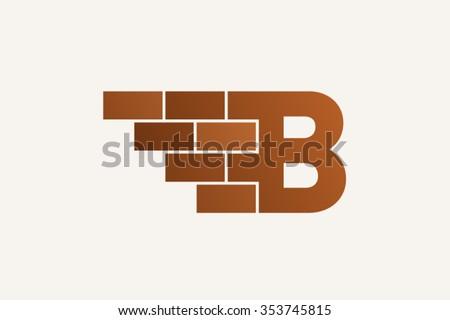 B letter Logo, brick wall logo design.