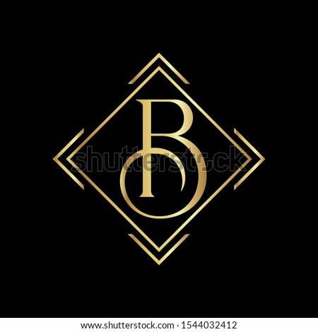B letter logo, Letter B logo, B letter icon Design with black background. Luxury B letter