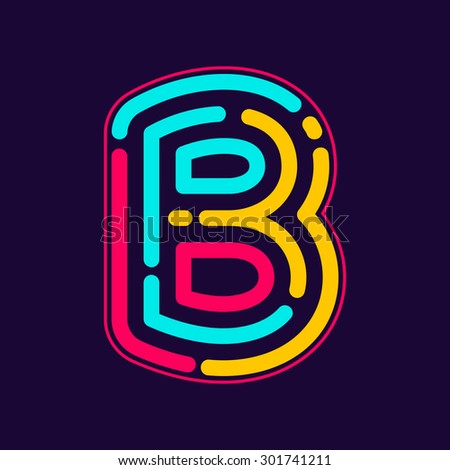 b letter logo with neon line or