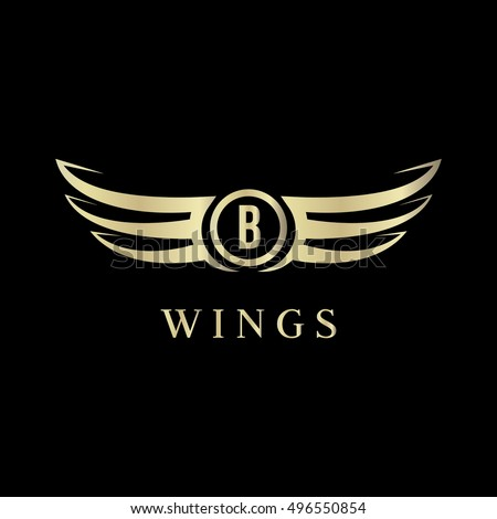 b letter wings logo vector template icon sign symbol
