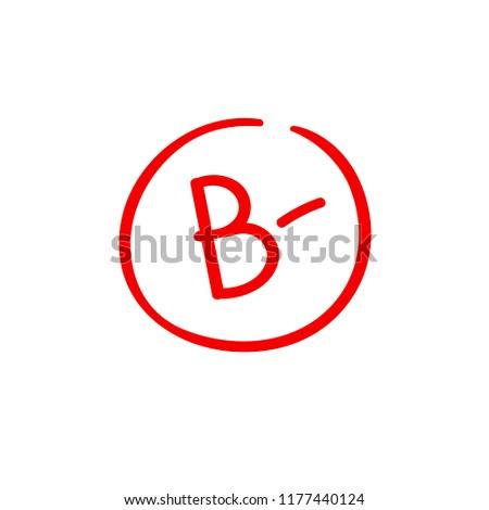 B minus examination result grade latter mark.