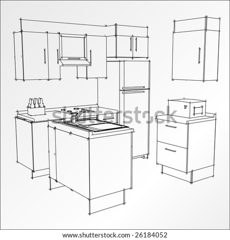 b w kitchen trace in vector mode