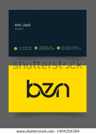 B Z N letters joint logo design vector template with business card Stock fotó ©