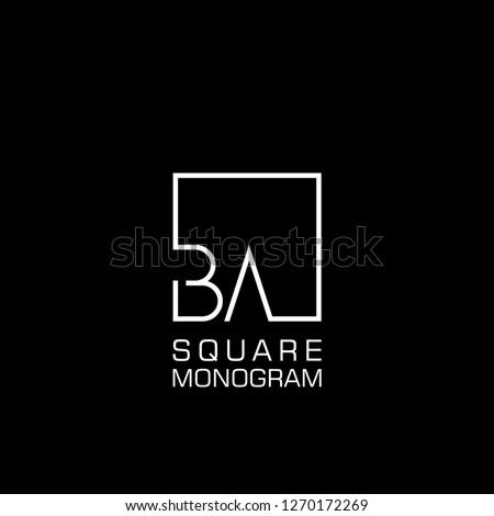 BA B A Logo design with square frame line art. vector illustration Zdjęcia stock ©