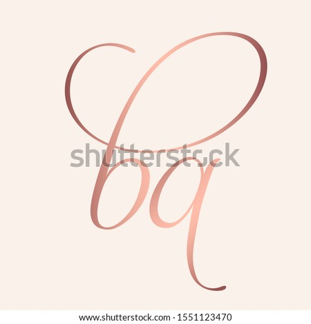 BA monogram logo.Signature style typographic icon with script letter b and letter a.Rose gold lettering sign isolated on light fund.Lowercase calligraphic alphabet initials.Decorative,elegant style.