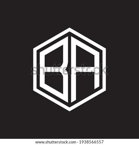 BA poligon letter icon design on BLACK background.Creative letter BA - B A ogo design. BA initials Poligon Logo design. Zdjęcia stock ©