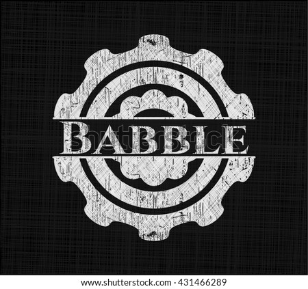 Babble chalkboard emblem on black board