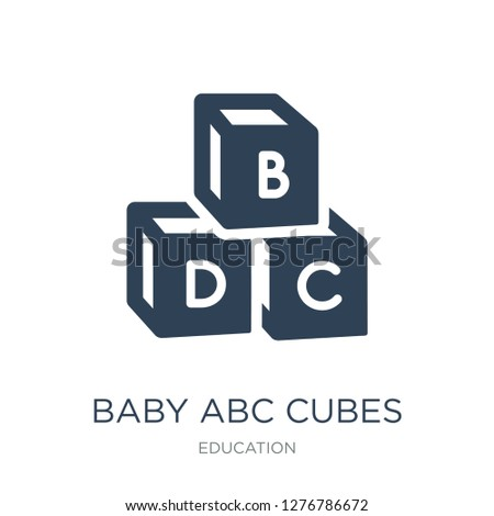 baby abc cubes icon vector on white background, baby abc cubes trendy filled icons from Education collection, baby abc cubes vector illustration
