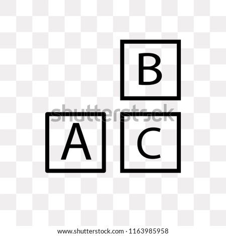 Baby ABC Cubes vector icon isolated on transparent background, Baby ABC Cubes logo concept