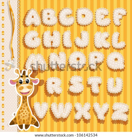 baby alphabet with lace and