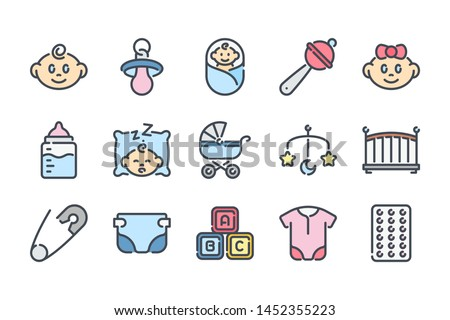 Baby and Toys related color line icon set. Maternity and childhood colorful linear icons. Newborn flat color outline vector sign collection.
