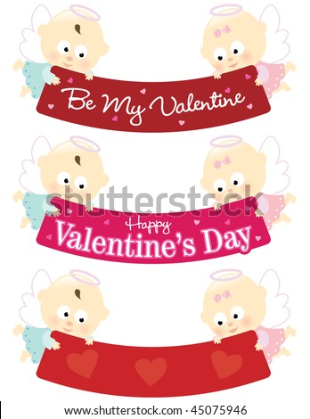 stock vector : Baby angels holding Valentines banner isolated collection