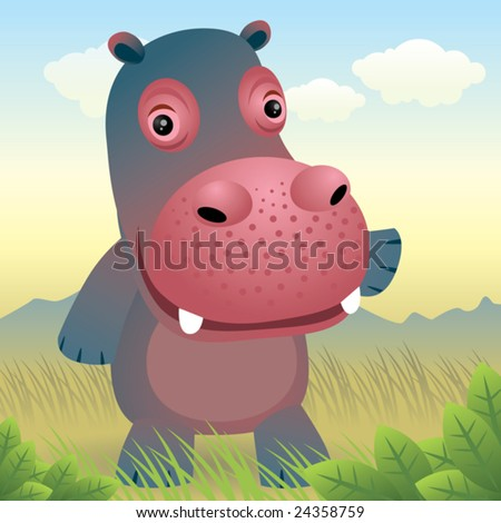 Baby Animal collection: Hippo\\ \\ Visit my portfolio for more baby animals.
