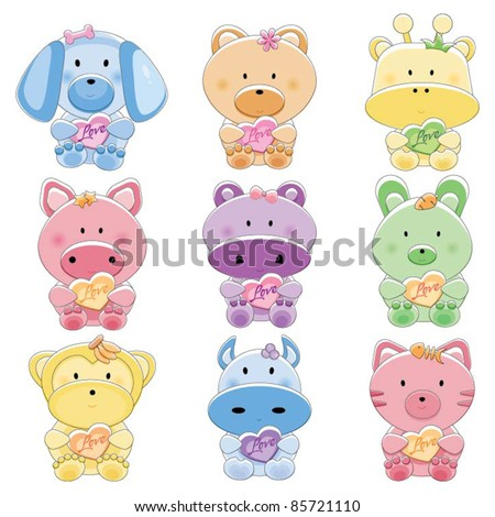 Baby animal set with love - stock vector