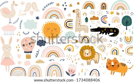 Baby animals pattern. Vector illustration with Africa animals. Nursery baby pattern illustration
