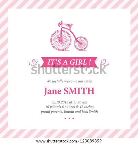 Baby announcement card editable vector with bicycle illustration for baby girl - stock vector