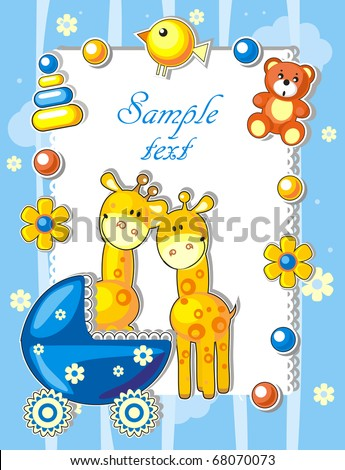 Baby arrival announcement card with giraffes and toys
