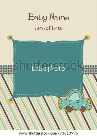 Baby Arrival Card with Photo Frame in vector