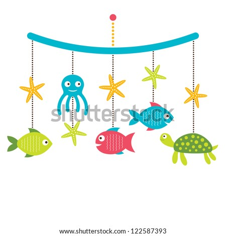 Baby arrival or shower card crib mobile with sea animals