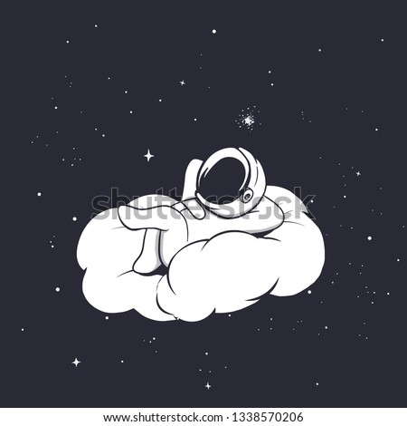 Baby astronaut lies and relaxing on the cloud. Space vector illustration