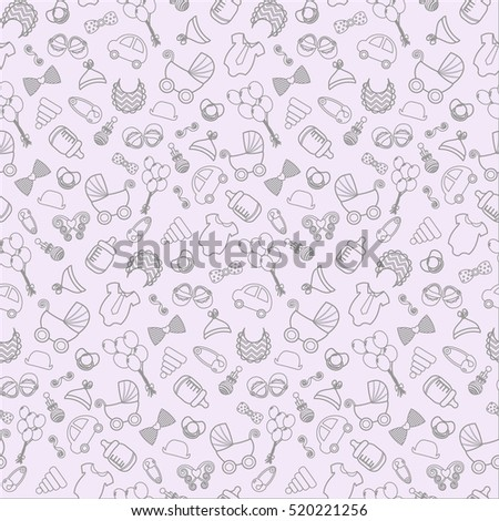 baby background. Vector seamless baby and pregnancy pattern. baby background on baby shower. Toys, children's clothes, stroller, retro style.  background