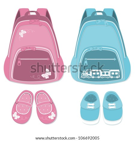 Baby backpack and shoes isolated  on a white background.