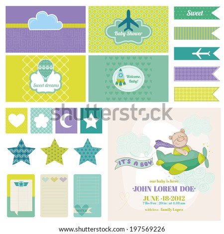 Baby Bear on a Plane for Birthday Baby Shower Party Decoration in vector