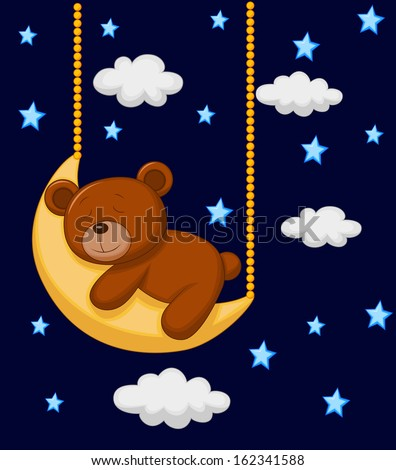Baby bear sleeping on the moon