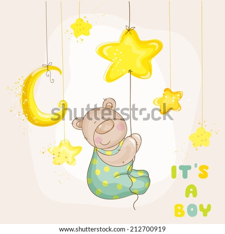 Baby Bear with Moon and Stars Baby Shower or Arrival Card in vector