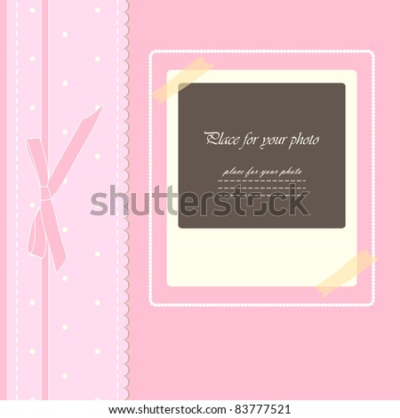 Baby beautiful girl card with your text  for invitation, greeting, birthday, label, postcard, frame, gift and etc (vector eps 10)