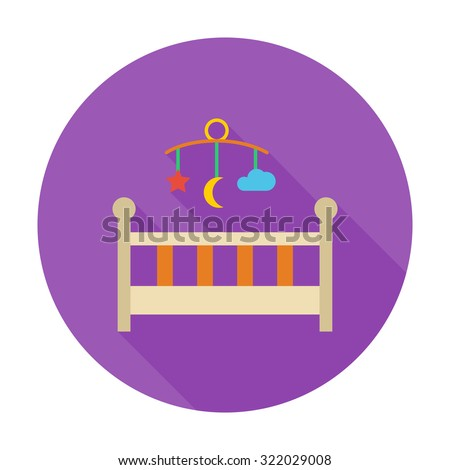baby bed icon flat vector