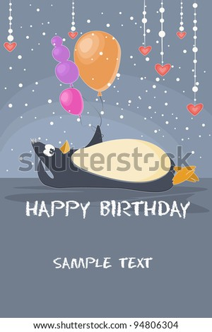 baby birthday card with a cute penguin and balloon