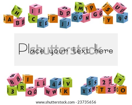baby blocks letters and numbers vector