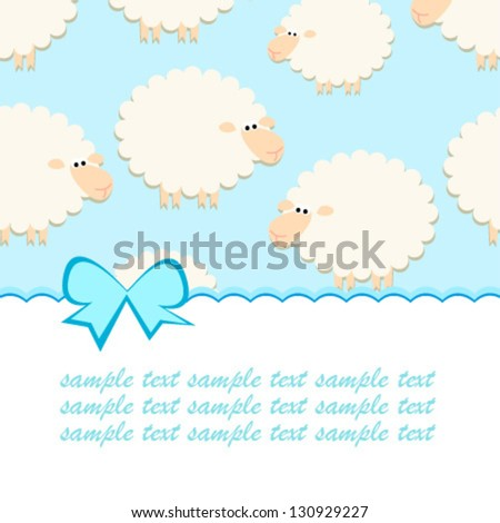 baby blue sheep card