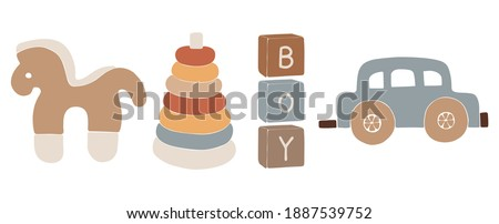 Baby boho toys, abstract boho toys, cute minimal plaything for children, toy clipart, vector toys set, wood elements for kids ストックフォト ©