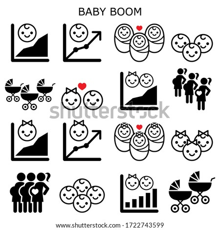Baby boom, baby boomer generation vector icons set - increase in fertility rates of boys and girls.  Preganancy boom, baby boom design set, demographics concept icons in black isolated on white