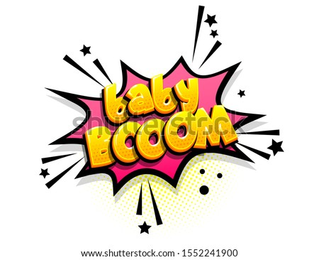 Baby boom isometric comics text shock phrase pop art. Cartoon funny retro font. Colored comic text speech bubble. Positive sticker cloud vector illustration. Stockfoto ©