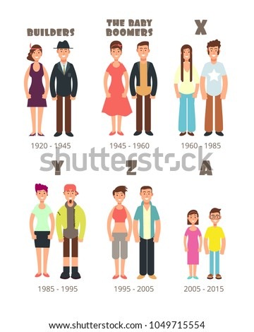 Baby boomer, x generation vector people icons. Illustration of people boomer and generation y and z Stok fotoğraf ©