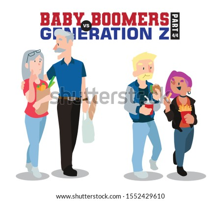 Baby Boomers vs Generation Z. Generation X Millenials. Elderly People with Young Generations Vector part 4