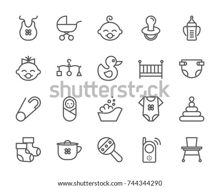 Baby born pixel perfect icons set with different child and motherhood symbols and accessories elements. Isolated 48x48 pixels pictograms vector illustration.