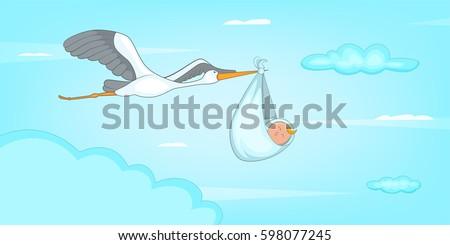 Baby born stork horizontal banner concept. Cartoon illustration of baby born stork vector horizontal banner for web